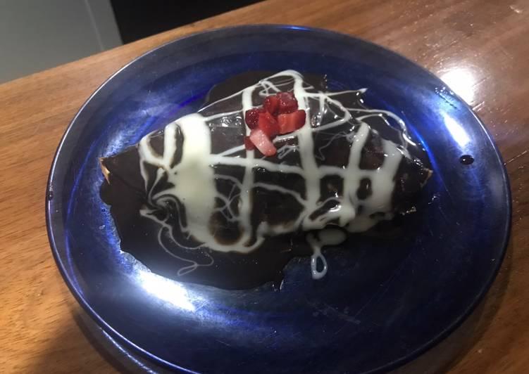 Crepas de chocolate amargo y fresa