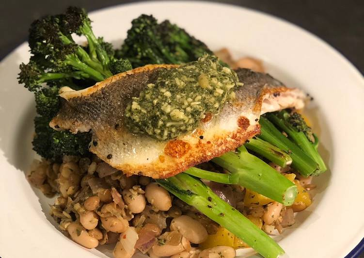 Recipe of Quick Pesto seabass with cannellini beans and purple sprouting broccoli