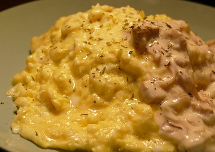 Simple Way to Prepare Favorite Fluffy Omelette with Chanterelle Pilaf & Cream Sauce