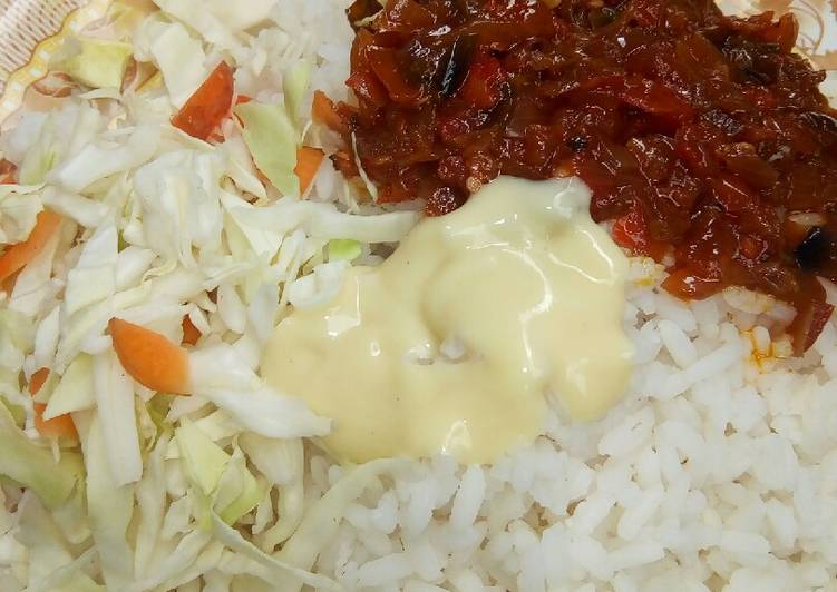 Recipe of Top-Rated White rice and stew with cabbage and cream