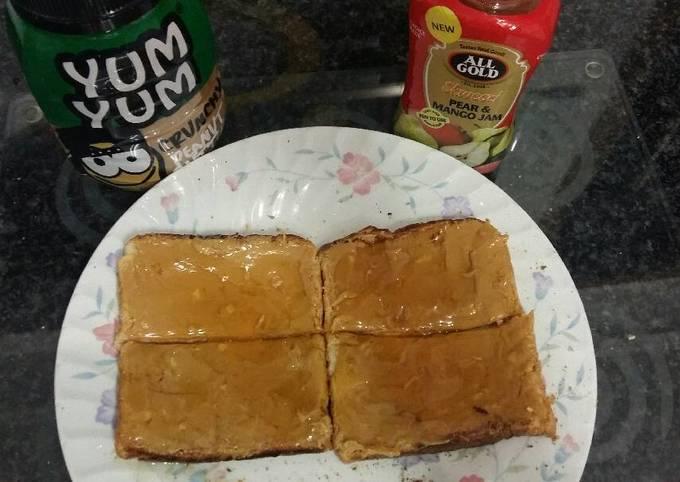 Peanut butter and jam toast