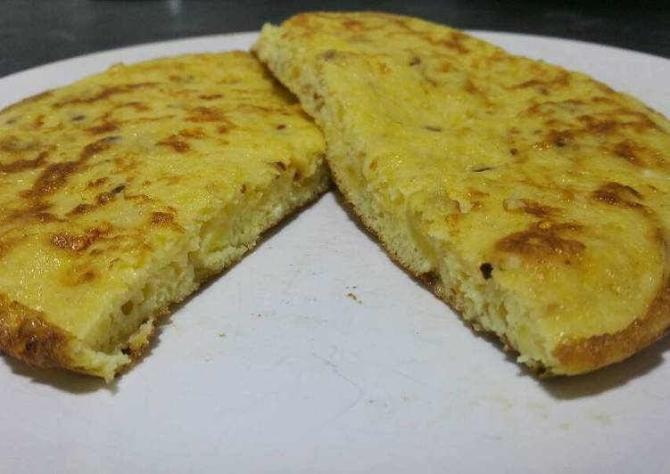Omelette with cheese and sweet potato