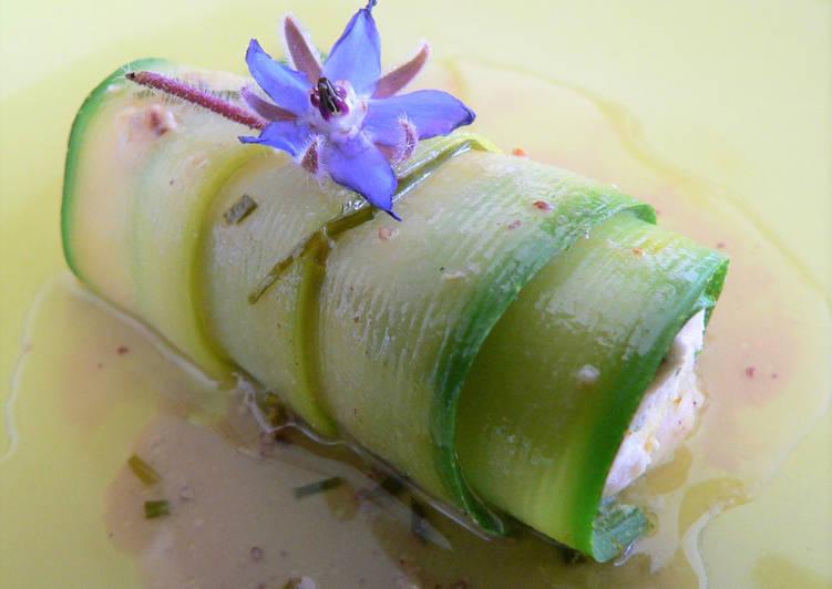 Recette: Rouleau de courgette à la mousse de saumon