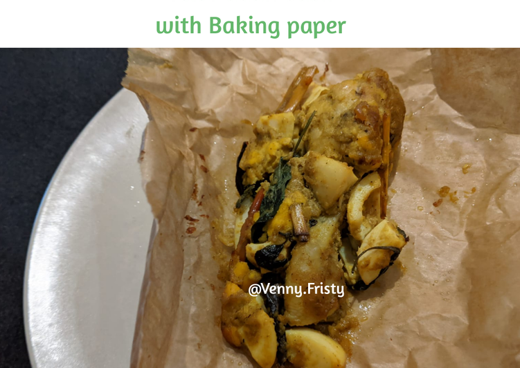 Pepes Ayam Teri Telur Daun Basil with Baking paper