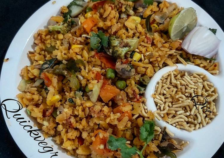 Hearty Comfort Dinner Easy Love Quick Veg Recipe style poha made in love for people who love vegan