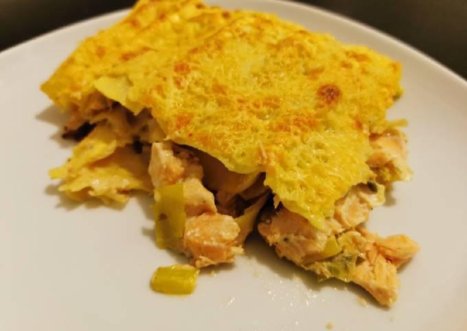 Lasagnes poireaux et saumon à la béchamel