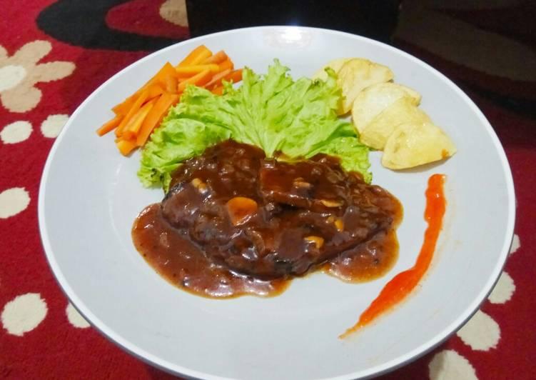 Steak daging sapi saus blackpaper