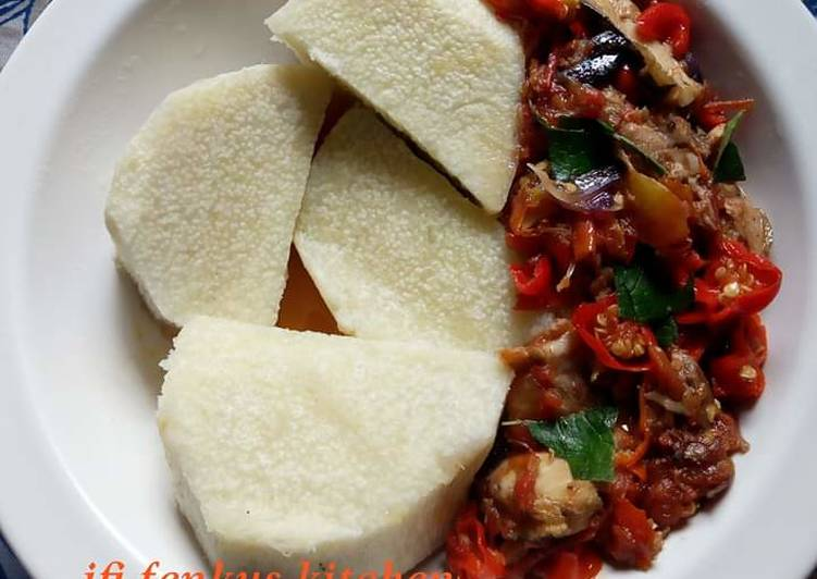 Recipe of Ultimate Boiled yam and fish sauce