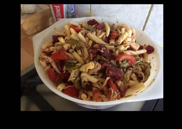 Salade de maccheronis betteraves tomates mozzarella et cornichons américains au thon
