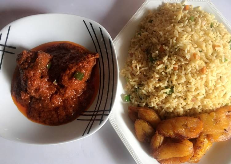 Step-by-Step Guide to Make Award-winning Stir fried rice, chicken stew and fried plantain