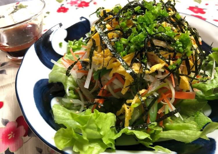 Finely Shredded vegetable salad with soy sesame oil dressing