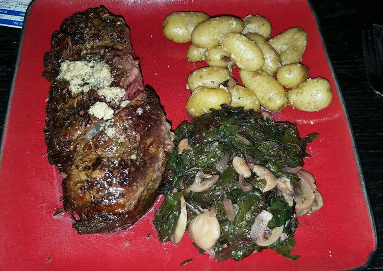 Bone-in Prime rib with red chard, and mini golden potatoes