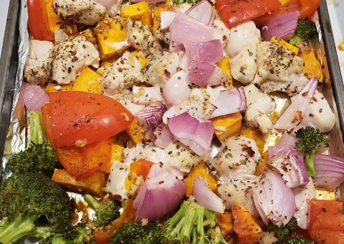 1 pan chicken with sweet potatoes & veggies