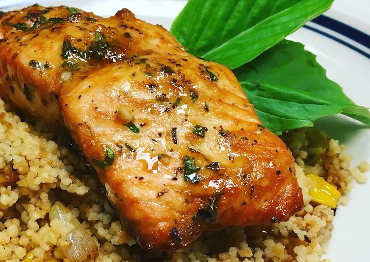 Sesame Lemon Soy Baked Salmon with a Toasted Couscous Caramelized Onions,Mushroom and, Sweet Corn, Coconut Oil Is Really A Great Product And Can Also Be Beneficial For Your Health