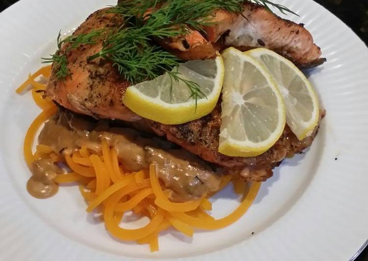 Brad's seared salmon w/ squash noodles & shallot mushroom sauce