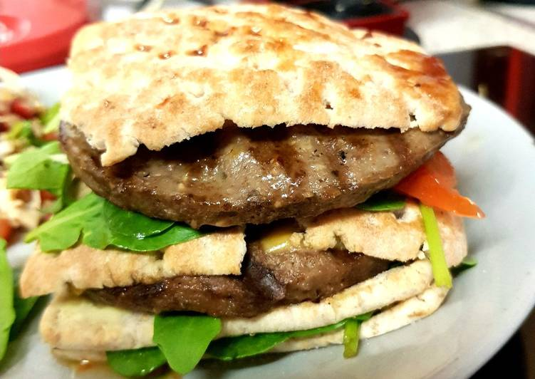 Steps to Make Quick My Naughty Sandwich Burger with Salad