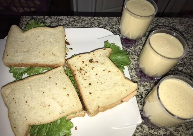 Suya sandwich and orange banana smoothie