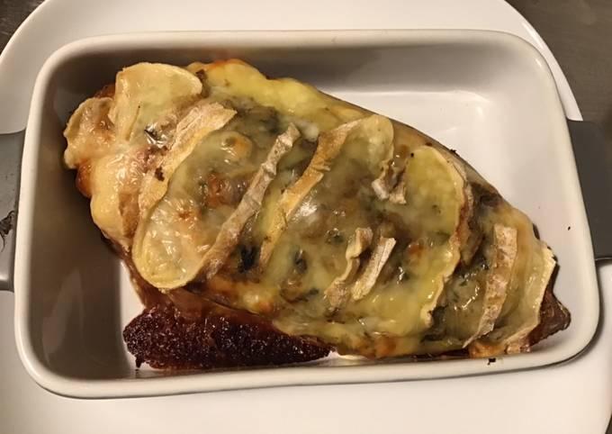 Patate douce farcie aux champignons et saint nectaire fermier
