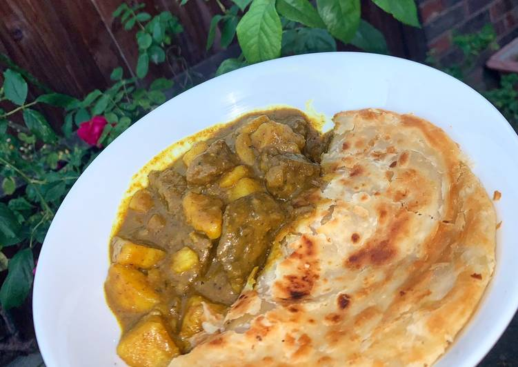 Caribbean Curry Goat with Roti