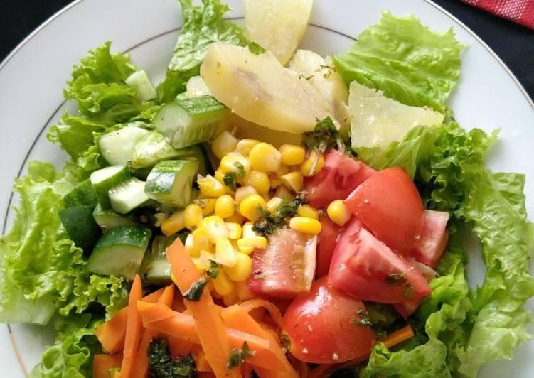 Salad sayur with balsamic dressing (sehat dan lezat)