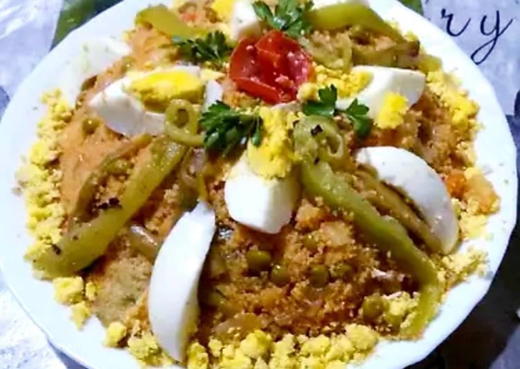 Tamakfoult (couscous avec les restes des légumes a la vapeur)