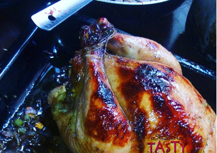 Whole baked chicken