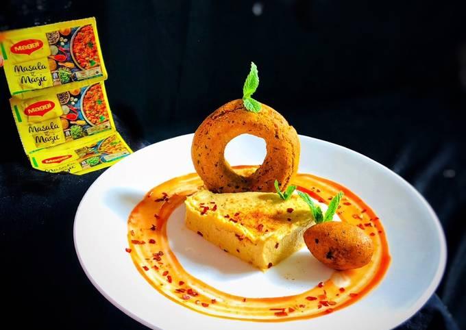 Masala magic savoury falafal doughnut with masala magic garlic hummus