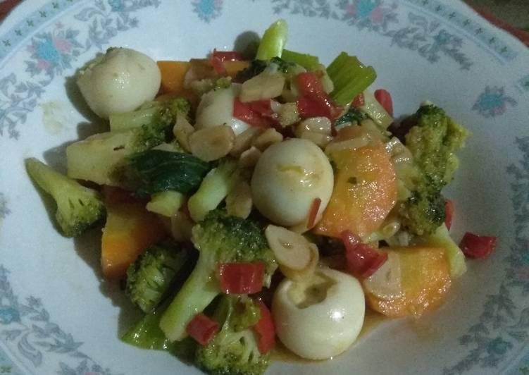 Cah Brokoli Wortel Sawi Telur Puyuh