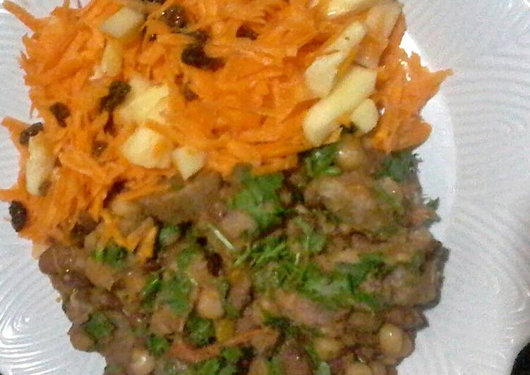 Consuming 14 Superfoods Is A Terrific Way To Go Green For Better Health Sultanas,carrots& pineapple salad with Githeri