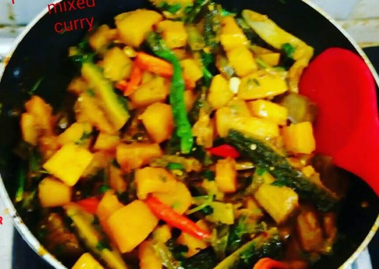 Simple Way to Prepare Any-night-of-the-week #pumpkin-karela mixed vegetables