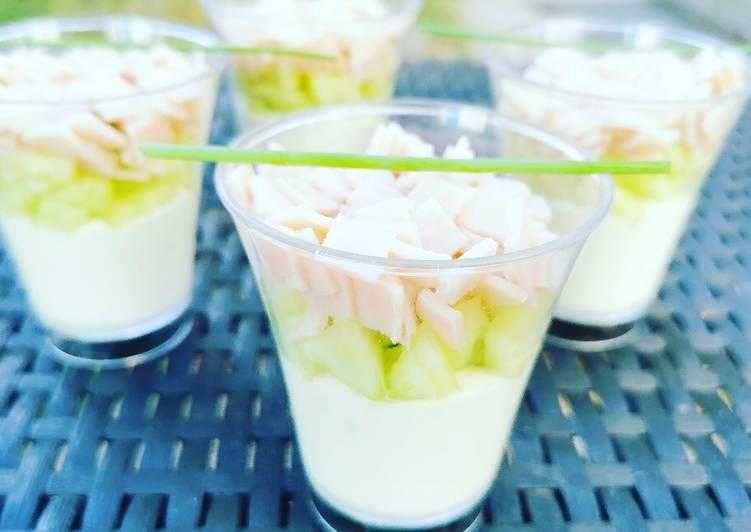 Nos 11 Meilleures Recettes de Verrines concombre blanc de poulet sur sa mousse vache kiri