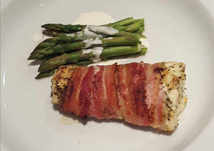 Steps to Prepare Award-winning Roasted white fish wrapped in smoked bacon with asparagus