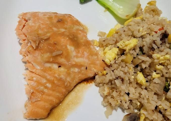 Salmon Teriyaki with Pineapple Fried Rice