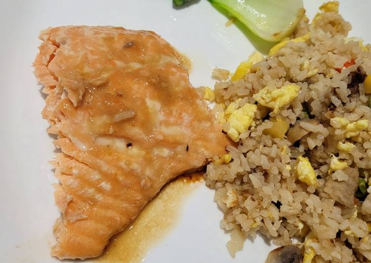 Easy to Prepare Quick Salmon Teriyaki with Pineapple Fried Rice