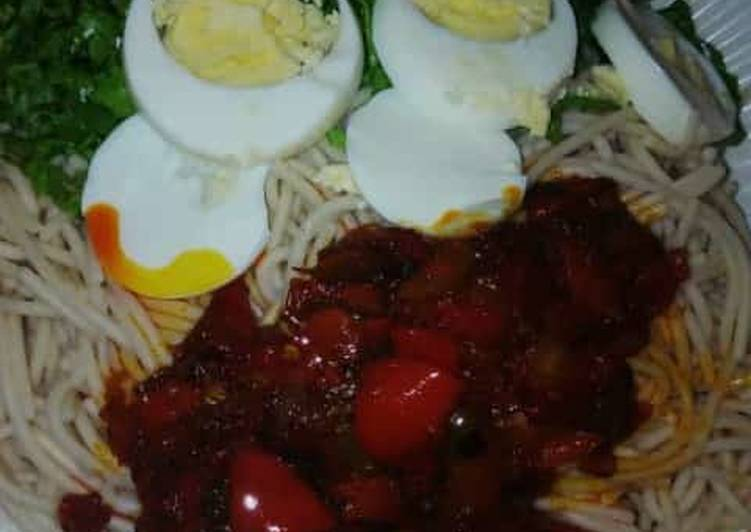 Taliya + stew with salad and eggs