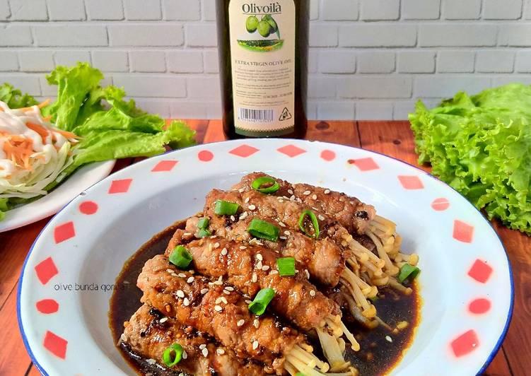 Enoki beef roll with teriyaki sauce and evoo olivoila