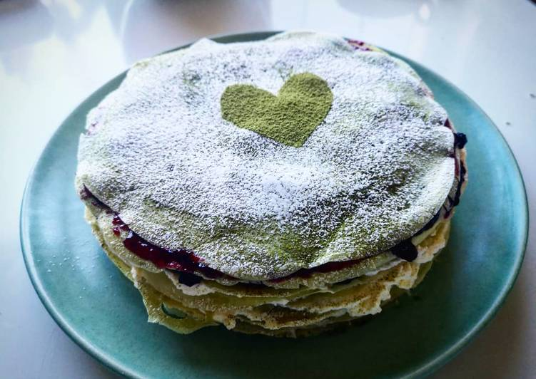 Steps to Prepare Perfect Matcha layer pancakes