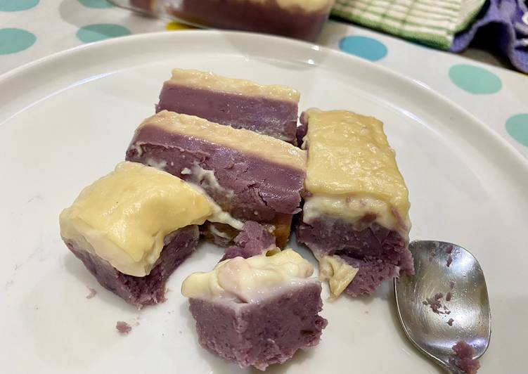Lumpur Surga Ubi Ungu | Steamed Purple Sweet Potato with Milk Layer