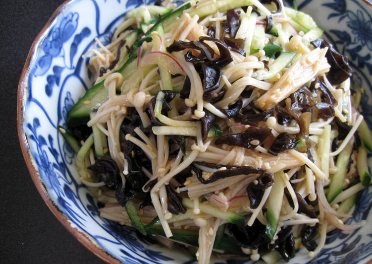 Easiest Way to Prepare Super Quick Homemade Enoki, Black Fungus & Cucumber Salad