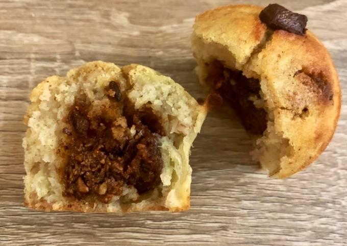 Muffins banana bread pépites de chocolat - cœur praliné 🍌🌰 🍫