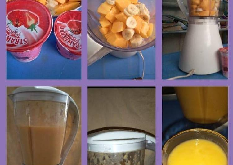 Recipe: Tasty Mango+banana+strawberry yoghurt juice