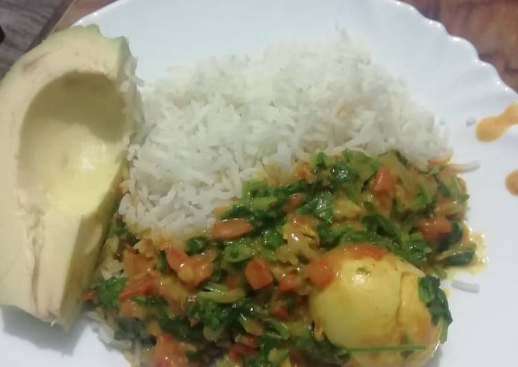 Rice Egg Curry And Avacado