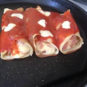Canelones de jamón y queso express (rinde aprox 6 canelones)