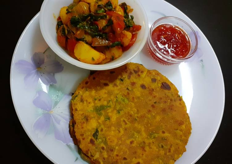Recipe: Perfect Jowar-Radish Paratha with  Aloo Methi Subzi