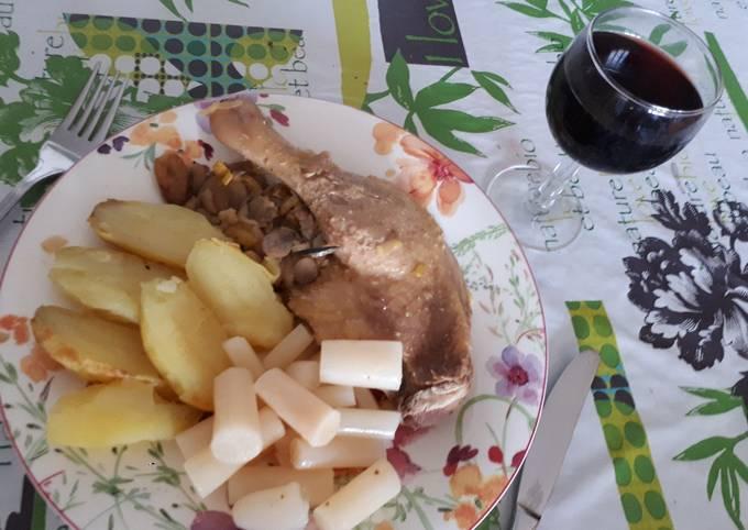 Canard cuit au four et salsifis au vinaigre
