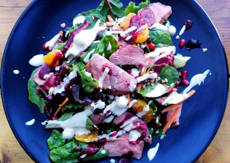 Easiest Way to Make Perfect Smoked duck/buckwheat/orange/pomegranate/houmous salad