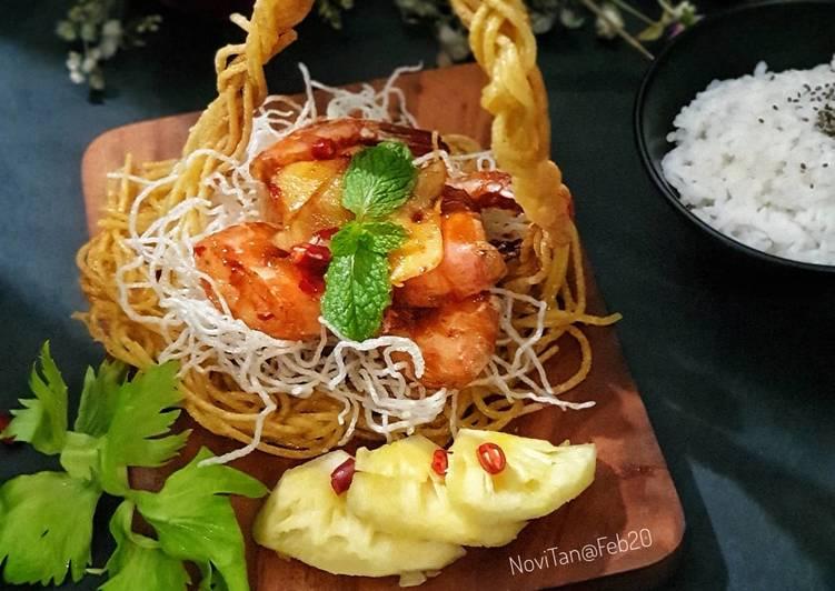 94. Udang saus lemon keranjang spagheti / Prawn Spaghetti Basket