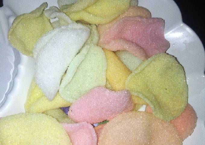 Colored prawn crackers