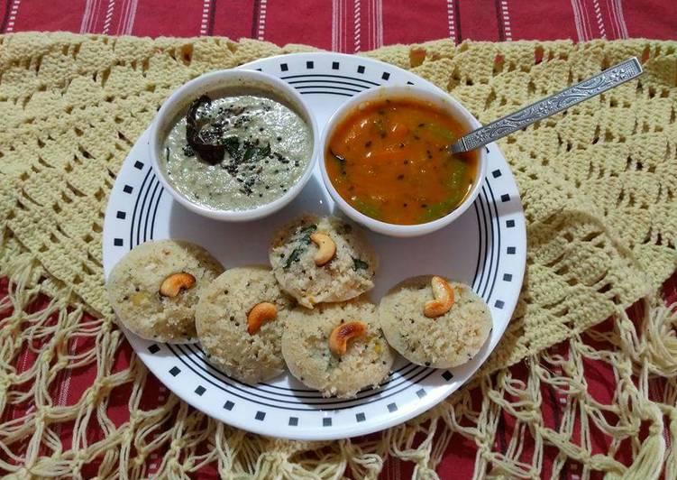 Instant masala rava idli with Sambar and chutney
