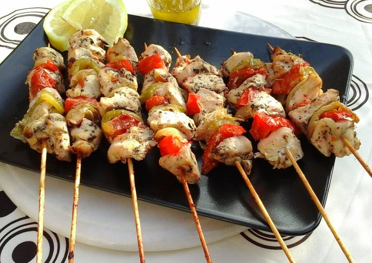 Grilled Chicken Souvlaki on a stick (Kotopoulo Kalamaki)